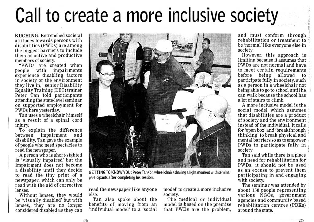 New report of the DET session in Kuching Sarawak by Joanna Yap of Borneo Post