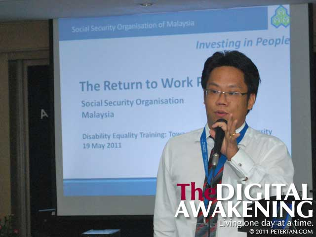 SOCSO Claims Manager Edmund Cheong explaining the Return To Work Program