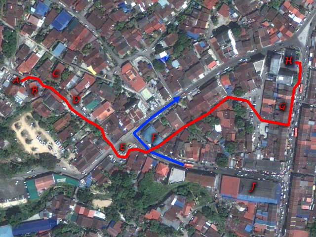 Google Earth image of Ayer Itam town with the route that my mother took during the 1967 Penang Hartal