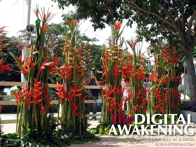 Heliconia compositions at the entrance of Floria Putrajaya 2010