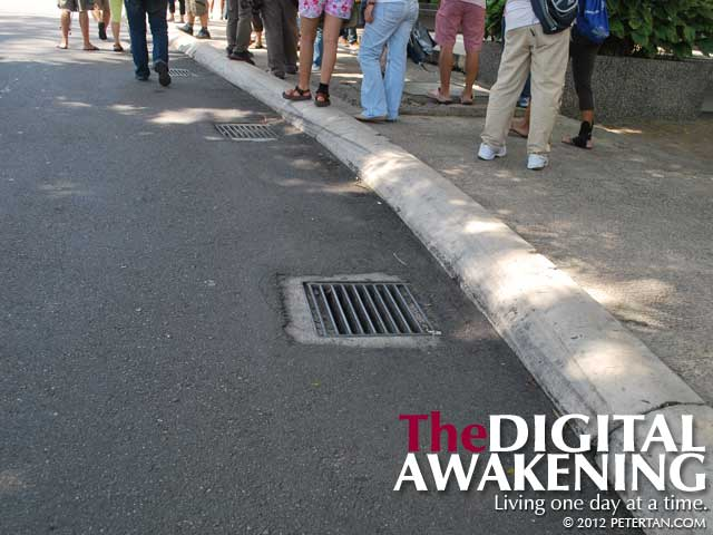 Drain grates along Jalan Galloway