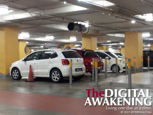 Access to ramp blocked by inconsiderate driver at The Gardens Mall